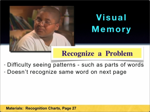 Recognizing a Visual Memory problem